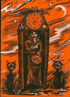 Grandfather clock, Halloween style. Cat, skeleton, jack o' lantern, black cats.