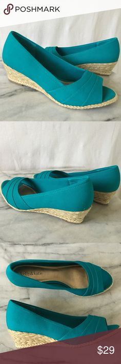 "New Turquoise espadrilles New Kelly & Katie wedge sandals. 2"" heel. Thanks! 💤💤 Kelly & Katie Shoes Espadrilles"