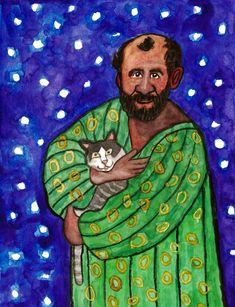 """Gustav Klimt with his cat"",watercolour on paper, 24 x 32 cm ......... グスタフ・クリムト Gustav Klimt, Cat Watercolour, Paintings, Cats, Paper, Painting Art, Gatos, Paint, Painting"