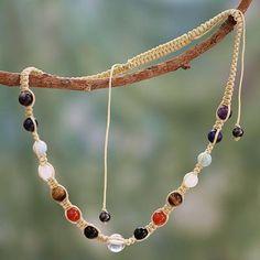 Multi-gemstone chakra necklace - Well-Being | NOVICA
