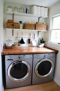 10 Small but Seriously Stylish Laundry Rooms that will Actually Make you want to do laundry - Clean Eating with kids Tiny Laundry Rooms, Laundry Room Remodel, Farmhouse Laundry Room, Laundry Room Organization, Laundry Room Design, Storage Organization, Storage Ideas, Storage Shelves, Small Shelves
