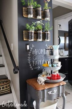Home Decor Living Room Looking for DIY coffee bar ideas? This at home countertop coffee bar is perfect for small spaces and looks great in your kitchen! – Style Of Coffee Bar In Kitchen Diy Kitchen, Kitchen Design, Kitchen Decor, Kitchen Ideas, Kitchen Plants, Decorating Kitchen, Kitchen Soffit, Kitchen Bars, Awesome Kitchen