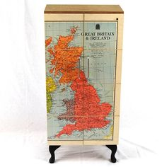 vintage map cupboard