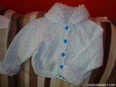 Blue'ish baby cardigan with fancy buttons http://www.dazzlemarket.com/ads/blueish-baby-cardigan-with-fancy-buttons/