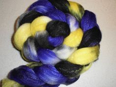 Starry Night SW Merino Wool  Silk Roving - Hand dyed Spinning Fiber Black Purple Yellow White