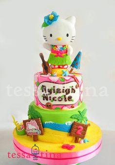 Hawaiian Hello Kitty Cake - by tessatinacakes @ CakesDecor.com - cake decorating website