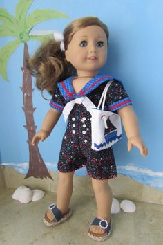 American Girl Doll Clothes:  Red, White, and Blue Sailor Romper, Beach Tote, and Sandals. $23.00.