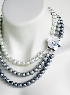 Mother of Pearl Triple Strand White Silver Pewter Pearls Wedding Necklace Flower Motif Bridal Jewelry. White for when they were a bride; silver for when they became a mother; pewter for when they're a mother of the bride/groom :) Pearl Necklace Wedding, Diy Necklace, Necklace Designs, Collar Necklace, Necklace Ideas, Wedding Necklaces, Beaded Jewelry, Silver Jewelry, Handmade Jewelry
