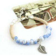 Leaf Light Stones Bracelet Charm Jewelry Charm Jewelry Outfit Accessories From Touchy Style Charm Bracelets For Girls, Cheap Bracelets, Bracelets For Men, Beaded Bracelets, Rope Bracelets, Mens Silver Necklace, Sterling Silver Bracelets, Silver Rings, Silver Necklaces