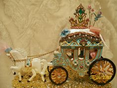 """""""Her Majesty's Royal Coach"""" by The Bluebirds Song, via Flickr. Made for the """"Marie Antoinette"""" Mail Art Group, a miniature pincushion coach,it was a PIF swap."""