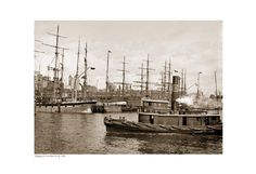 Shipping at East River Docks, 1900 (sepia) Fine Art Print Poster