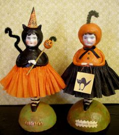 Halloween Papier Mache Cat Doll