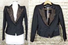 TOV Holy G Studded Lapel Black Lightweight Blazer Jacket 38 Small 4 US NWT Punk #TooHolyG #BasicJacket #Casual