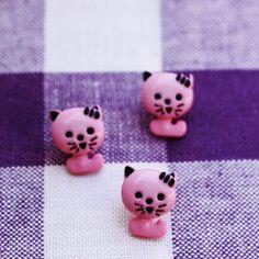 ピンクの子ねこボタン イギリス製