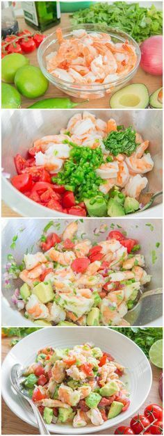 This fresh and light Shrimp and Avocado salad takes 10 minutes to put together a. This fresh and light Shrimp and Avocado salad takes 10 minutes to put together and is reminiscent o Fish Recipes, Seafood Recipes, Cooking Recipes, Recipies, Shrimp Recipes Easy, Cold Shrimp Salad Recipes, Lime Recipes Dinner, Drink Recipes, Cooking Pork