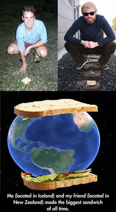 """One in Iceland and One in New Zealand. The Biggest Sandwich of All Time. - Funny memes that """"GET IT"""" and want you to too. Get the latest funniest memes and keep up what is going on in the meme-o-sphere. Funny Shit, Funny Cute, The Funny, Funny Jokes, Hilarious, Funny Stuff, Funny Commercials, Funny Minion, Funny Pranks"""