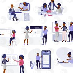 Business illustrations of beautiful digital images created featuring black people for your next digital project. Free for commercial and personal use. American Illustration, Digital Illustration, Office Images, Professional Image, Design Guidelines, Teaching Art, Black People, The Office, Digital Image