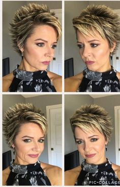 Hair Beauty - Streaked and spiked Short Choppy Hair, Girls Short Haircuts, Short Hair With Layers, Cute Hairstyles For Short Hair, Short Hair Cuts For Women, Curly Hair Styles, Short Stacked Hair, Ladies Hairstyles, Frosted Hair