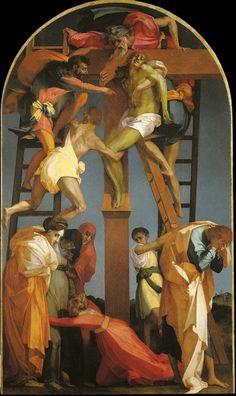 Rosso Fiorentino ~ Kruisafneming ~ 1521 ~ Olieverf op hout ~ 335 x 198 cm. Italian Painters, Italian Artist, La Passion Du Christ, Renaissance Kunst, Crucifixion Of Jesus, Jesus Christ, Peter Paul Rubens, Cross Paintings, Art Background
