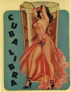 Pin Up Girl Poster Cuba Libra Cocktail Drink Bar Latina Cute Retro Pin Up Vintage, Pub Vintage, Vintage Art, Vintage Cuba, Vintage Room, Vintage Glamour, Vintage Kitchen, Pinup Art, Pin Up Girls