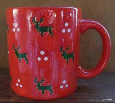 """Vintage Christmas Mug Waechtersbach West Germany 4"""" Reindeer"""