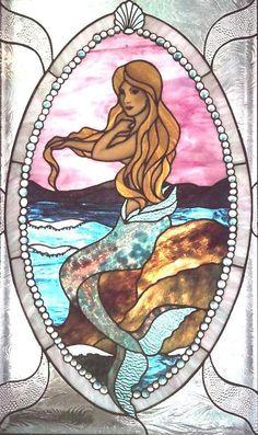 Tiffany Style Window Stained Glass Mermaid by JINI / www. Stained Glass Projects, Stained Glass Patterns, Stained Glass Panels, Stained Glass Art, Dragons, Mermaids And Mermen, Fantasy Mermaids, Real Mermaids, Window Art
