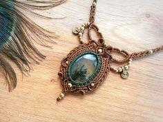 Prehnite macrame necklace. Bohemian jewelry design. Boho chic.