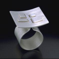 "Julia Turner ""Tension Ring 2"", 2003. Sterling silver. 1 x 1 x 1 in (2.5 x 2.5 x 2.5 cm)."