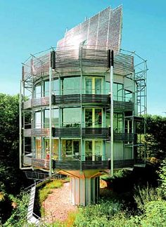 This German house is  run completely by Solar energy. During the day, the entire house slowly rotates so that the solar panel can follow the sun. I LOVE the idea of that. Imagine sitting in your office and knowing what time lunch is, based on your view.