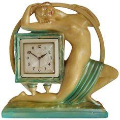 Rare Large English Art Deco Nude Mantel Clock by The Ornamental Plaster Co. Modern Mantel Clocks, Modern Clock, Clock Art, Clock Decor, Art Deco Furniture, Antique Furniture, Art Deco Design, Vintage Antiques, Vintage Clocks