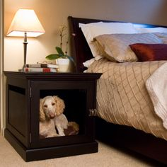 31 Astonishing Indoor Dog Houses Design Ideas That You Need To Try - Most people think of outdoor dog houses when they thing of a dog house. However, there are also indoor dog houses. Which are perfect if you want to ke. Wood Dog Crate, Dog Crate Furniture, Dog Crates, Wooden Crates, Repurposed Furniture, Designer Dog Beds, Cool Dog Houses, Pet Houses, Puppy Beds