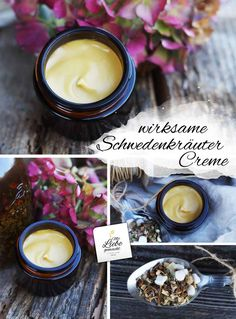 Effective Swedish herbal cream just made by yourself- Wirksame Schwedenkräuter Creme einfach selbst gemacht Effective Swedish herbal cream just made by yourself. Helps with muscle tension, rheumatism, gout or, for example, osteoarthritis! with love - Art Rose, Daily Health Tips, Chicken Piccata, Home Made Soap, Natural Cosmetics, Healthy Desserts, Home Remedies, Candle Jars, Make It Simple