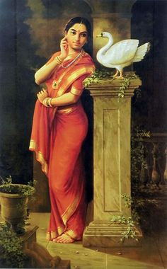 Hamsa Damayanti - Inspired from Raja Ravi Varma's Original (Reprint on Paper - Unframed))