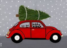 Red VW Christmas Cats Original Folk Art Painting by KilkennycatArt, $85.00