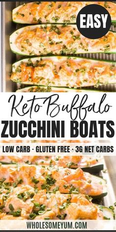 Buffalo Chicken Stuffed Zucchini Boats (Low Carb, Gluten-Free) - These buffalo chicken stuffed zucchini boats are spicy, savory, low-carb, and gluten free. A perfect single-pan dinner that's so many great things in one. Low Carb Dinner Recipes, Lunch Recipes, Real Food Recipes, Great Recipes, Keto Recipes, Breakfast Recipes, Cooking Recipes, Healthy Recipes, Keto Foods