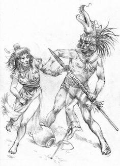 Majan Warrior with loot. Flower wars X-XV century AD