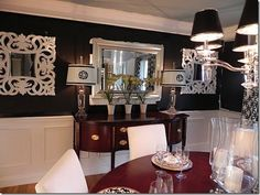 Love LOVE black walls with white wainscoting