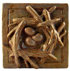 Janet Ontko bird nest arts and crafts tile; craftsman bungalow love this lady's work! Craftsman Style Bungalow, Tuile, Art And Craft Design, Clay Tiles, Painted Boards, Arts And Crafts Movement, Bird Design, Polymer Clay Art, Tile Art