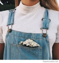 White tee and a denim jumpsuit