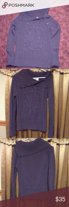 DKNY JEANS  Knit Sweater Gorgeous lavender sweater with embroidered DKNY logo and asymmetric neck line. Thick and stretchy. Like new! :-) DKNY Sweaters