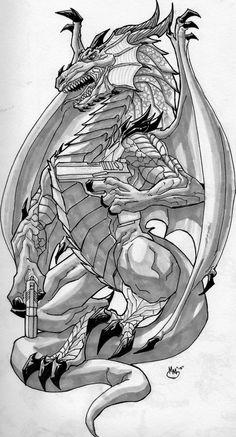 Dragon Tattoo w/Pistols Design by BluBoiArt on DeviantArt