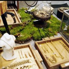 Display using moss and wood boxes