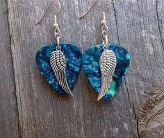 Single Wing Charm Guitar Pick Earrings - Pick Your Color