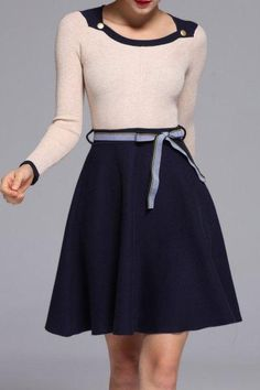 #AdoreWe #Dezzal Dezzal Color Block Knit A Line Dress - AdoreWe.com
