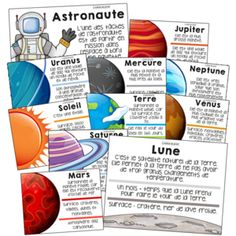 20 posters on the solar system: planets and space - - primaire Planets Activities, Solar System Projects, Magic Birthday, Solar System Planets, Core French, French Classroom, French Resources, Teaching French, Science Projects