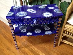 Hand Painted Furniture, Whimsical Table, Blue Willow Motif., via Etsy.