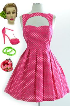 41fa36ed2b6 50s Style Pink w White Polka Dots Cut Out Bodice Last Slow Dance Pinup Sun  Dress