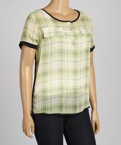 Love this Green Plaid Sheer Henley - Plus by C.O.C. on #zulily! #zulilyfinds