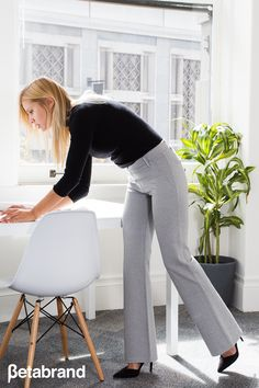 Betabrand's Dress Pant Yoga Pant combines sophisticated styling with a soft, stretch performance knit. They might just be the most comfortable pants you'll ever wear to work. It's a classic yoga style pant, but with extra hidden pockets to keep your important documents safe while at the office.