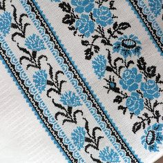 "UA.  @nebokrayneba Рушник ""Волошковий"". Вишивка хрестиком Cross Stitch Bookmarks, Cross Stitch Borders, Cross Stitch Embroidery, Palestinian Embroidery, Beaded Crafts, Body Hacks, Table Covers, Beading Patterns, Bohemian Rug"